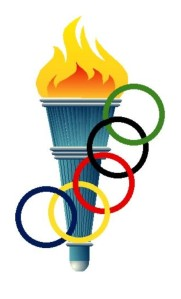 torch and olympic rings