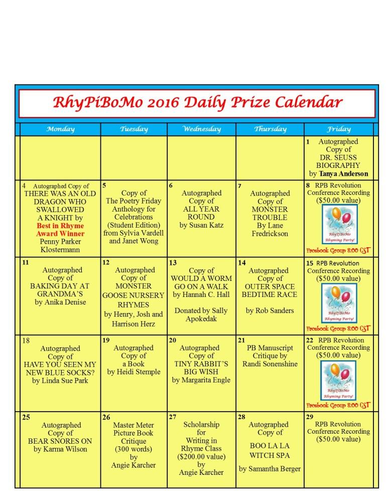 RhyPiBoMo 2016 Prize Calendar